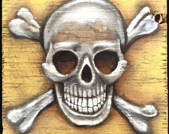Skull and Crossbones Painting on Weathered Plywood