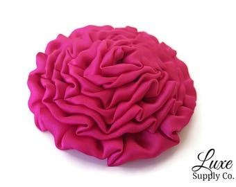 "Hot Pink Satin Ruffled Rosette - 3"" Ruched Fabric Rosette - Twisted Flower Applique- DIY Projects, Crafts, Baby Headbands - Wholesale Flower"
