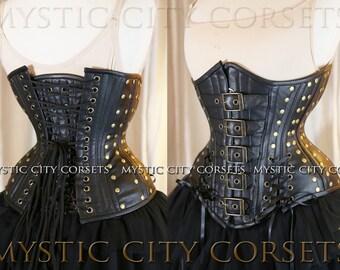 Black Leather Underbust corset Steampunk MCC-44