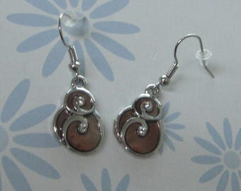 Earrings silver & Brown enamel