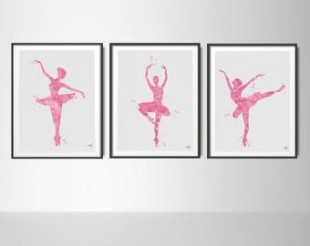 Ballerina Pink Watercolor Print Set, Ballet Art, Dance Studio, Modern Home Decor, Teen Decor, For Girls, Home Decor, Dancer Wall Hanging