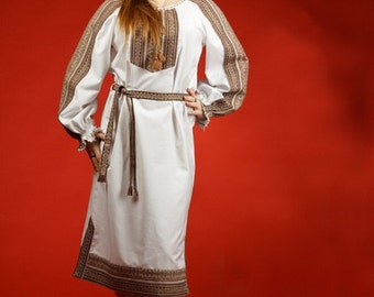 Ukrainian Women's dress - embroidered dress. Ukrainian traditional clothing. Vyshyvanka, embroidered red, brown, ukrainian clothing fashion