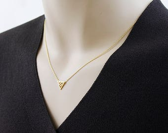 Gold Triangle Necklace Tiny Charm Necklace Gold Triangle Pendant Necklace Birthday Gift