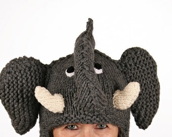 Beanie Animal-unique-winter hat as a funny elephant