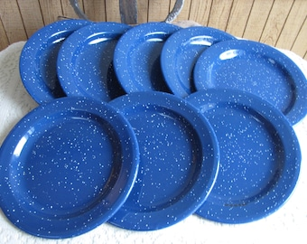 Blue Speckled Enamel Luncheon Plates Enamelware Vintage Dinner and Camping Plates Set of Eight (8)