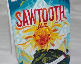 Cheers!! Spiral Notepad from Recycled Left Hand Brewing Sawtooth Ale 6-Pack Beer Carton