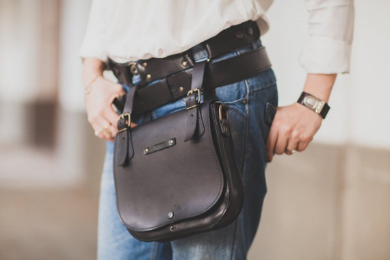 Black Hip Bag, Double Betled HipBag ,Crossbody bag,  Belt Bag, Handmade Genuine Leather Hipbag, Handmade Hip Bag