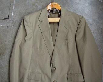 Vtg John Helmer Haberdasher Olive Green Lightweight Sport Coat Size 40R