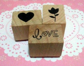 Spring Love Recollections Wood Mounted Rubber Stamp Set Of 3 Scrapbooking & Paper Craft Supplies