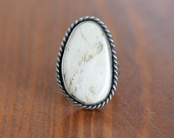White Buffalo Ring, Sterling Silver Ring - Size US 7