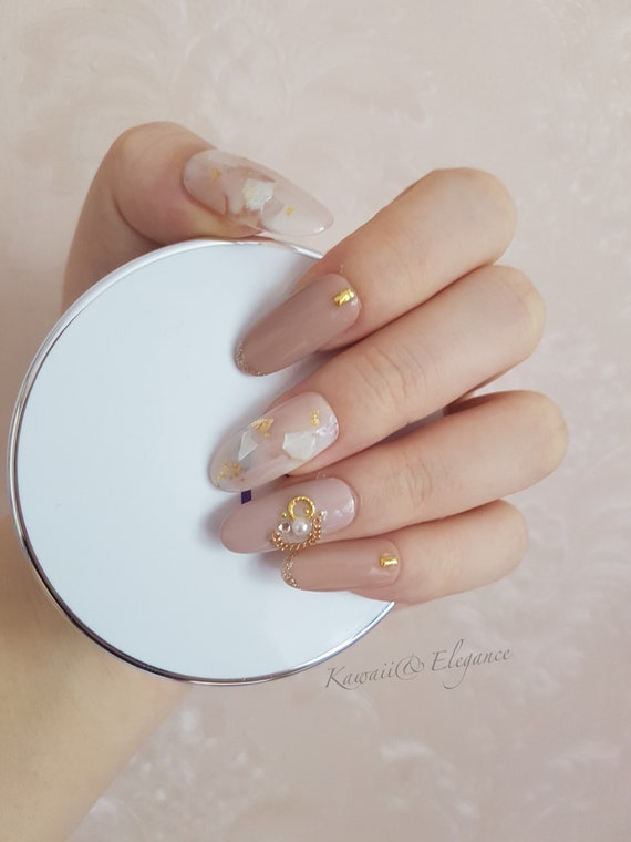 Gel Nails Press On Nails Long Almond Shape Nails Glue On Nails ...