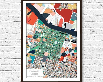 Savannah map Etsy