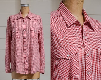 70s Western Red Gingham Plaid Pearl Snap Button Down Red & White Dress Shirt