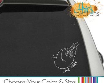 Sloth Decal, Sloth Car Decal, Sloth Live Slow, Car Decal, Sloth Sticker