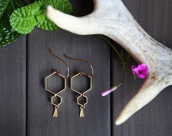 Hexagon geometric earrings honey comb jewelry brass gold lover gift nature lover gift for women honey bee hive minimalist - Ruche Earrings