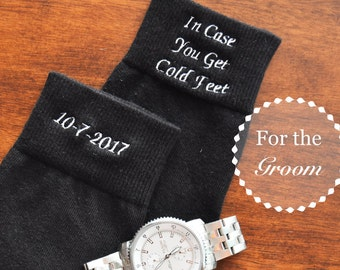 Groom Embroidered Wedding Dress Socks | In Case You Get Cold Feet | Gifts from Bride to Groom | Wedding Gifts | Favors | Groom | Socks