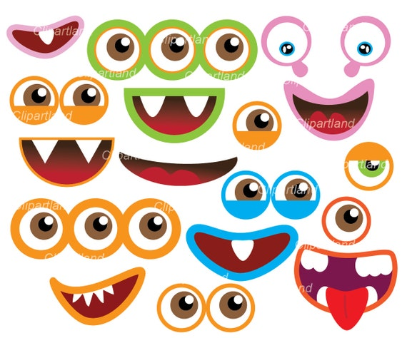 instant download monster eyes and monster mouths clip art rh etsy com  monster with no eyes clipart