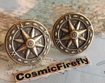 Large Compass Cufflinks Men's Cufflinks Steampunk Cufflinks Vintage Style Cufflinks Gothic Victorian New Statement Cufflinks Nautical Gifts