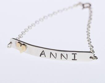 Name Chain Bracelet, Sterling Silver Bracelet, Bar Bracelet, Valentines day, Valentines gift, Chain Bracelet, Stamped Bracelet, Personalised