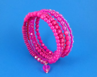 Hot Pink Memory Wire Bracelet - Stacked Coil, Wrap Around Bangle, Magenta Mixed Beads, Shades of Pink, girly cute kawaii, fuchsia cerise