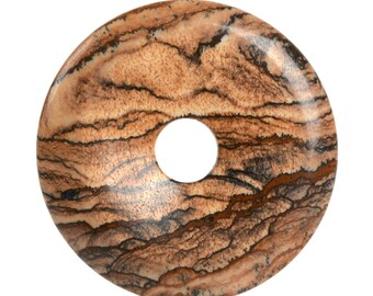 g2972.7  50mm Picture jasper donut focal pendant bead