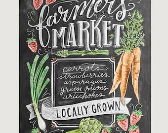 Farmer's Market Sign - Chalkboard Sign - Spring Farmers Market - Spring Produce - Farmer's Market - Fall Art - Chalkboard Art