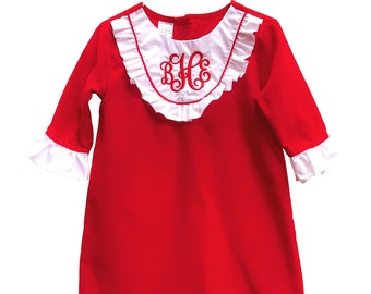 Red Corduroy Bib Dress