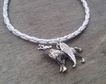 Angel Wolf Bracelet - Wolf Wings - angel bracelet - random bracelet - birthday gift - geekery bracelet