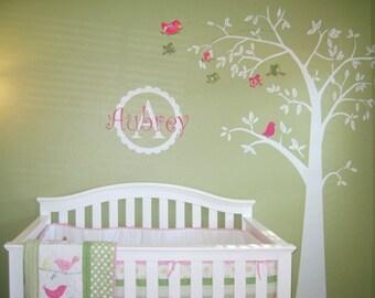 Nursery Tree with Custom Initial Name Wall Decal-Baby Room Decor,Kids Room Decor,Modern Living Art,Nursery Wall Decal,Bedroom Decal [MT007]
