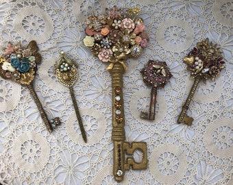 Embellished vintage keys