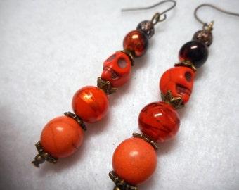 Halloween Earrings, Halloween Jewelry, Skull Earrings, Skull Jewelry, Orange Earrings, Orange Jewelry, Bronze Earrings, Bronze Jewelry