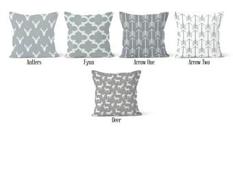 Grey Pillow Cover, Decorative Throw Pillow Covers, Euro Pillow Sham 16 x 16, 18 x 18, 20 x 20, 22 x 22, 24 x 24, 26 x 26