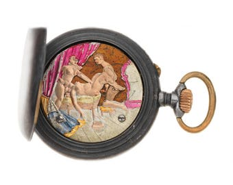 Victorian Gunmetal And Gold Watch With Erotic Automaton Scene