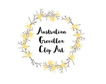 Clip Art Australian flora grevillea elements, Australian flower art, downloadable flower graphics, vector flower DIY PNG
