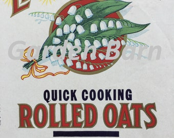 Rolled Oats Vintage Lithograph Advertising Label