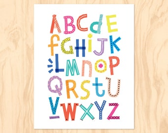 RAINBOW ALPHABET : Printable Art, Nursery Art, Kids Wall Art, Instant Download, ABC Poster