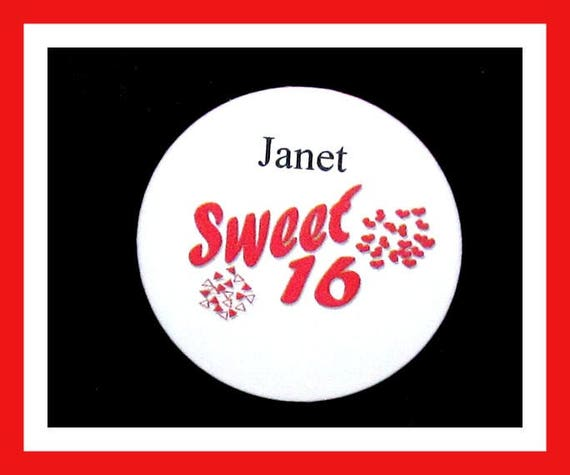Birthday Party Favor Personalized Button, Sweet 16 Pin Favor,School Favor,Kid Party Favor,Boy Birthday,Girl BirthdayPin,Favor Tag Set of 10