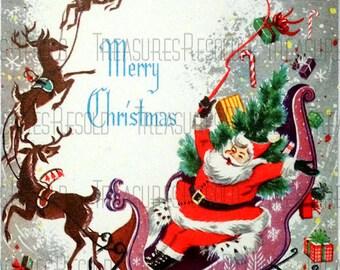 Retro Santa Claus and Reindeer Pulling Sleigh Christmas Card #259 Digital Download