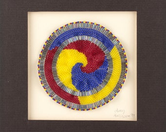 Spiral Art Circle Beadwork Sculpture Wall Art Hand Beaded Handmade Art Primary Colors