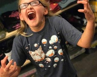 Kid Shirts: Bubble Cat, Cat Shirt for Kids, Blue Cat Shirt, Kids Youth Boy or Girl Shirt