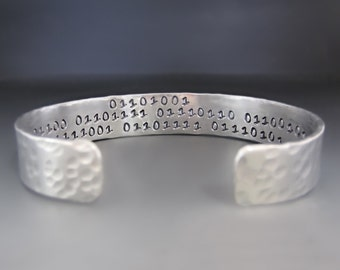 "Men's  Binary Code  ""I Love You"" Silver  Cuff Bracelet / hand stamped cuff / gifts for him / hammered cuff bracelet / Binary Code Bracelet"