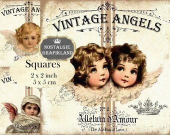 Vintage Angels Victorian Christmas 2x2 inch squares Instant Download digital collage sheet TW173 Guardian Angels