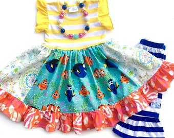 Finding Dory dress Just Keep Swimming Disney Nemo girl boutique handmade clothing