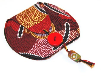 Pouch Talisman Bag, Small Textile Tribal Pattern Festival Pouch
