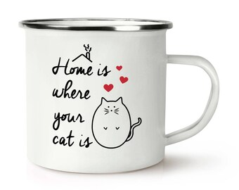 Home Is Where Your Cat Is Retro Enamel Mug Cup