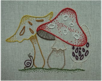 Freestyle embroidery toadstools