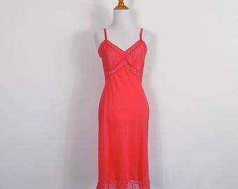 Vintage Salmon Pink Full Slip - Vanity Fair Nylon and Lace Slip - Size 34