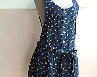 90s Cotton Denim Playsuit Romper Overall Dress - Boho Floral Rose Onesie - Bib Summer Overalls -Small - Medium