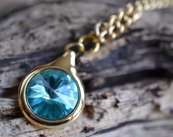 Sapphire Swarovski Pendant Necklace
