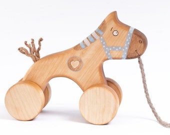 Personalized Wooden Pull Horse Toy, Blue Horse Pull Toy, Wood Pull Around Toy, Horse on Wheels Toy